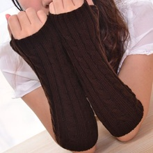 1 Pair New Winter Warm Women Lady Girls Gloves Arm Warmer Twist Long Fingerless Knitted Mitten Gifts(China (Mainland))