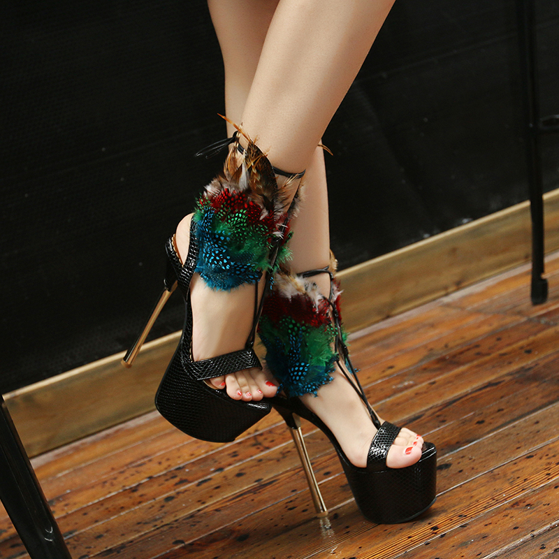 Black Red Italy Womens Ladies 6 Inch High Platform Ankle Feather Strap Stiletto Heels Sandal Sexy Party Nightclub Shoes Size 4-9(China (Mainland))