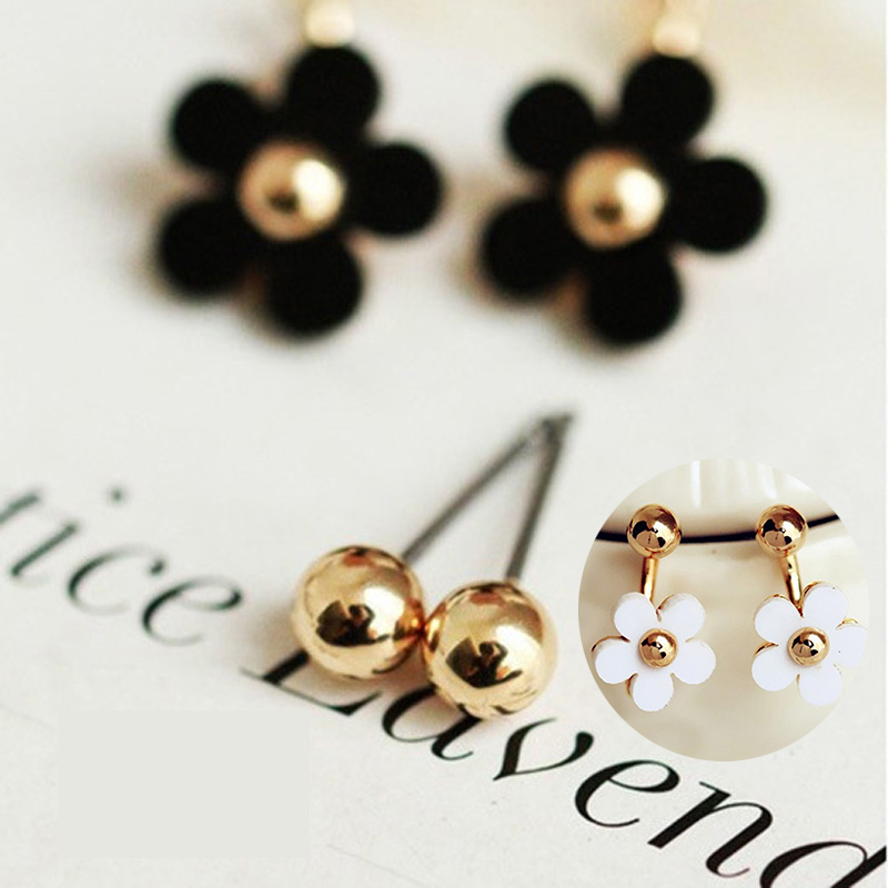 Fashion Elegant Style Small Ball Cute Daisy Flower Stud Earrings For Women Piercing Jewelry(China (Mainland))