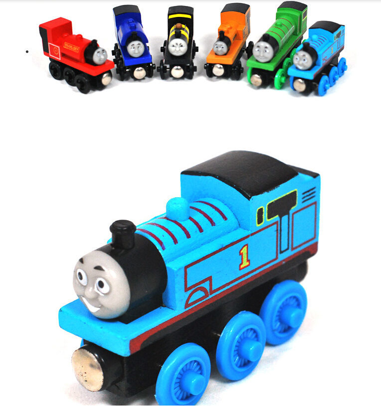 Kids Wooden Toy Magnetic Thomas And Friends Wooden Model Train Random Colors(China (Mainland))