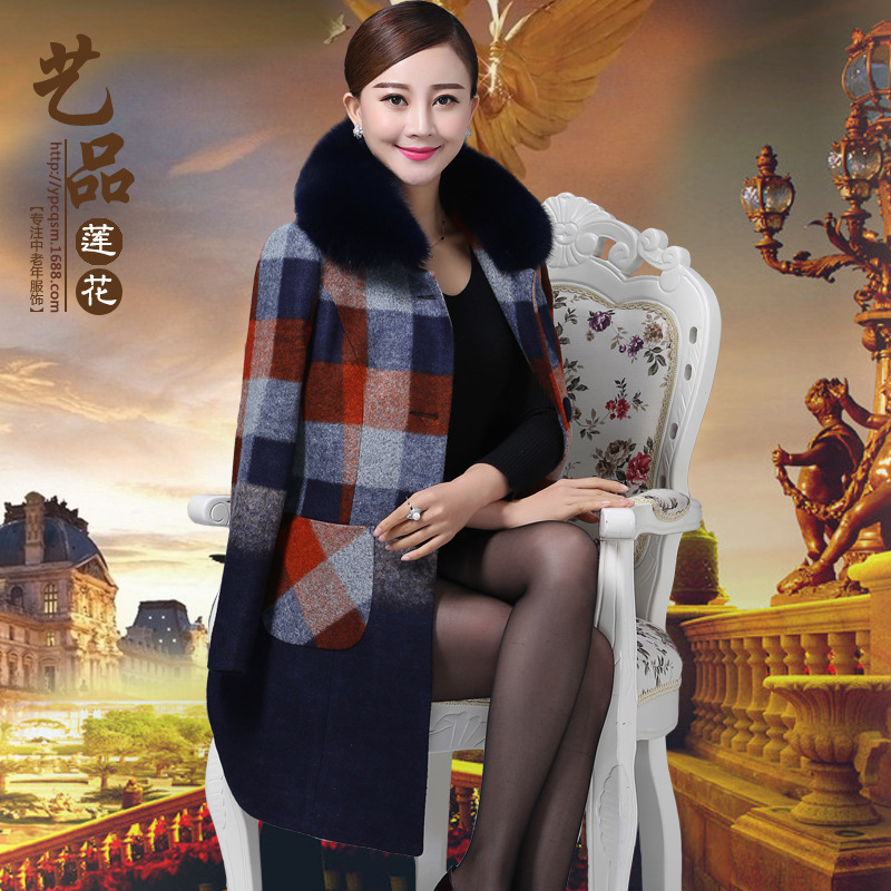 Size XL-5XL (bust 118cm)New Middle-aged and old womens cashmere coats for fall/winter high faux fox fur collar cashmere coatОдежда и ак�е��уары<br><br><br>Aliexpress