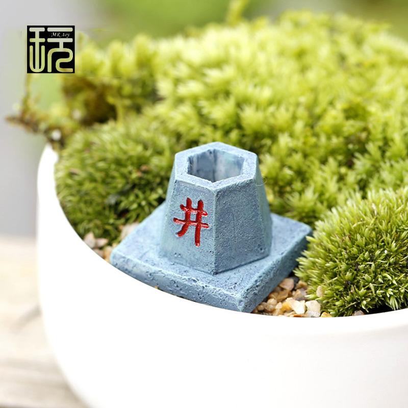 Zakka Resin Antique Imitation Water Well Mini Ornaments DIY Fairy Garden Miniatures Succulents/ Micro Moss Landscape Decoration(China (Mainland))