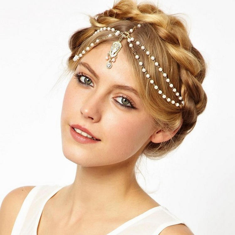Free Shipping Hair Accessories simulated pearl beaded crystal charms head bands women jewelry Wedding bridal Crown hair jewelry(China (Mainland))