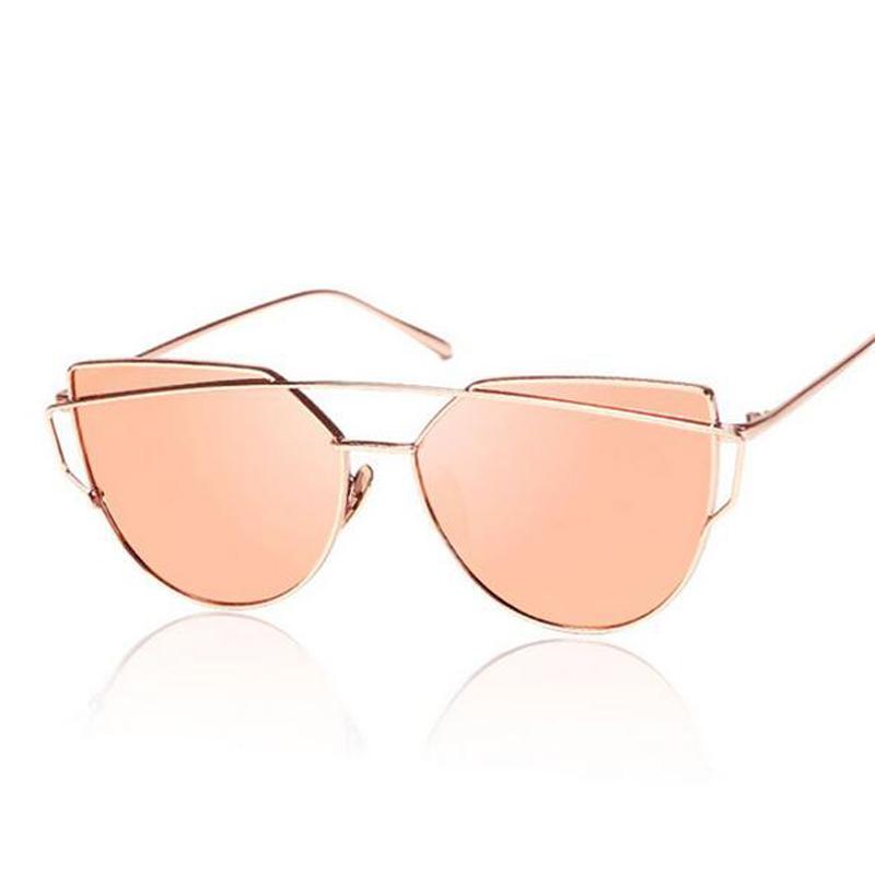 2016 New Cat Eye Sunglasses Women Brand Designer Mirror Pink Sunglasses Fashion Lady Flat Plane Vintage Sun Glasses Oculos(China (Mainland))