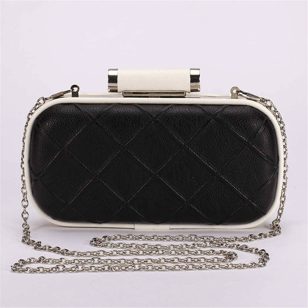 Women Plaid Pattern Clutch Handbag Faux Leather Clutches Ladys Chain Shoulder Evening Bag Purse Gold Black White Color Wallet(China (Mainland))