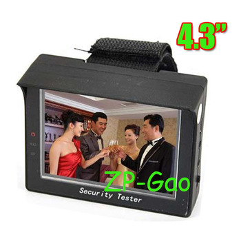 """Black 4.3"""" inch TFT Color LCD Monitor CCTV Security CCD Camera Video Test Tester 12V OUTPUT Free Shipping"""