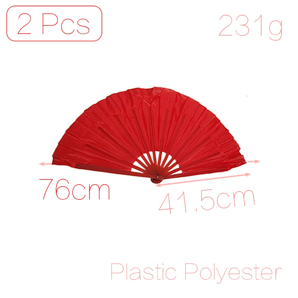Open Width 76cm Pair Red Plastic Ribs Dancing Foldable Asian Hand Fan 41.5cm x 3cm x 3cm (L*W*T) Discount 50(China (Mainland))