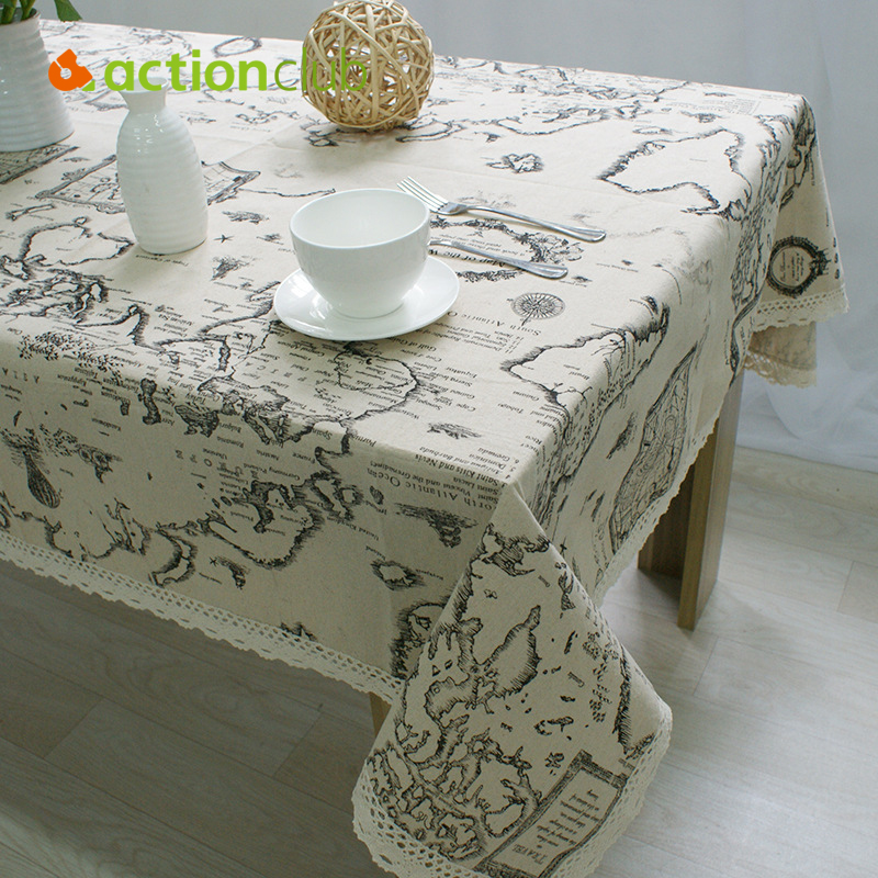 2016 New Arrival Table Cloth World Map High Quality Lace Tablecloth Decorative Elegant Table Cloth Linen Table Cover HH1534(China (Mainland))