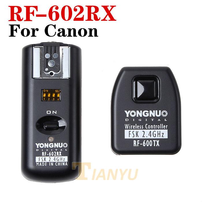 ถูก Y ONGNUO RF-602 RF 602 RF 602ไร้สายระยะไกลแฟลชทริกเกอร์สำหรับCANON 1D 5D 7D 60D 50D 40D 30D, 20D, 10D 550D 500D