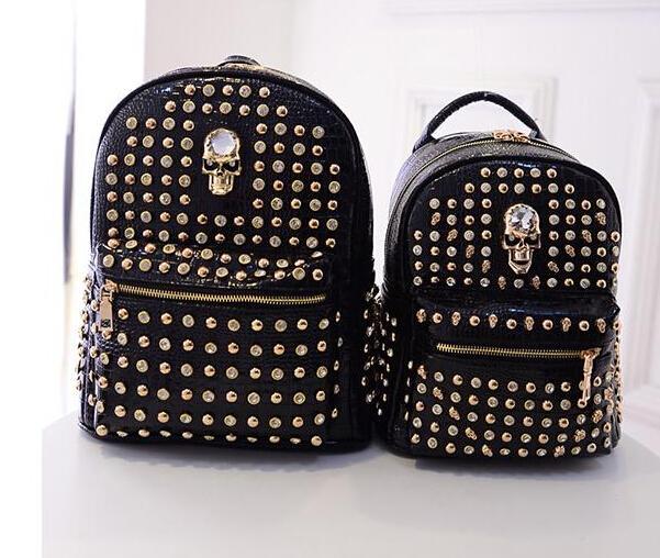 Skull Cartable Feminina Bolsa Feminina School Bags New 2015 Fashion Girls Mochila Women Backpack For Teenage Rucksack Back Pack(China (Mainland))
