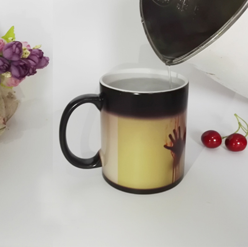 DIY Photo Magic Color Changing Coffee Mug printing with Walking Dead Bloody hands Black tea cup mugs 11OZ(China (Mainland))