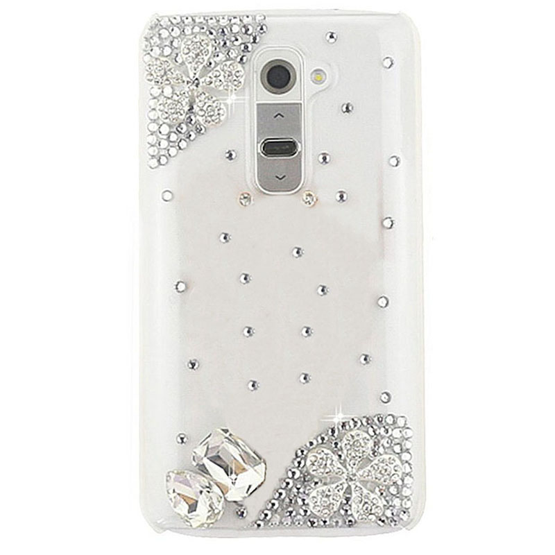 Free shipping 3d bling luxury flowers rhinestone crystal mobile phone case cover For LG Leon C40 case(China (Mainland))