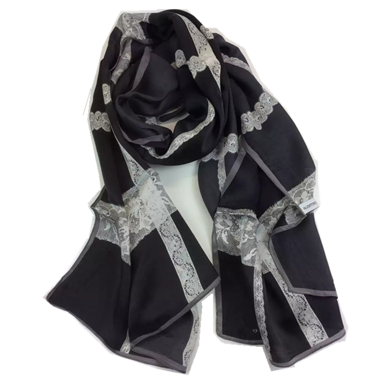 "New Women Silk Scarf 69"" 175cm Shawl Occident Style Black Lace Print Patten 100% Silk High Quality Hot Sale SWJ1643016(China (Mainland))"