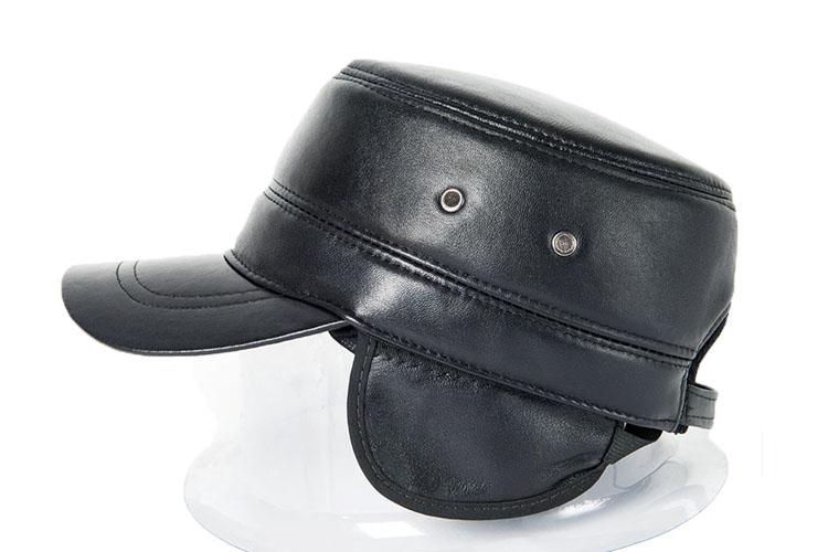 DL-10607 Wholesale-2016 genuine leather hat quinquagenarian sheepskin brief fashion military hat cadet cap winter cold cap(China (Mainland))