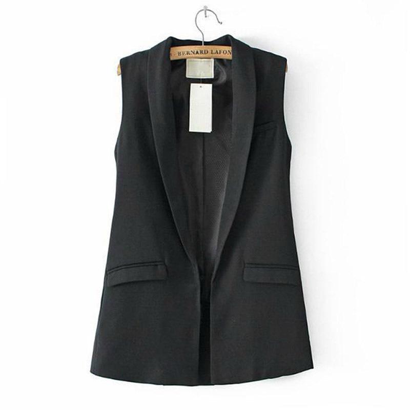 Women Sleeveless Formal Long Vest V Neck Blazers Suit One Button Jacket  CoatОдежда и ак�е��уары<br><br><br>Aliexpress