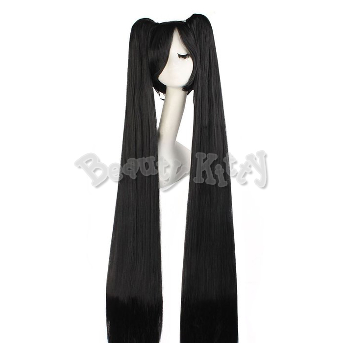 120cm 47inch Black Long Straight Wig Vocaloid-Miku Anime Cosplay Costume Wigs Women Ladies Costume 2 Ponytails Oblique Bang Cap<br><br>Aliexpress