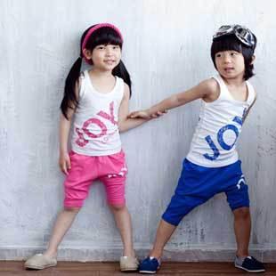 2015 Retail Kids Clothing Set Boys & Girls JOY Letter Fashion Design Leisure Sport Suit Sleeveless O-Neck, Free Shipping MY044(China (Mainland))