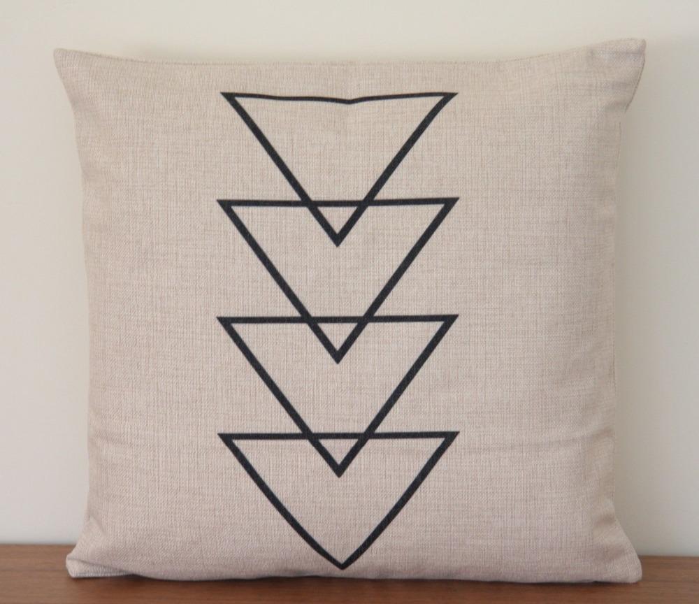 Black Arrows Triangles Scandinavian Cushion Cover Linen Cotton Retro Vintage Throw Pillow Cover 45x45 Modern Sofa Cushion Cases(China (Mainland))