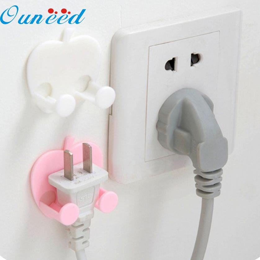 1PC Storage Rack for Socket Outlet Power Cable Heart shaped multifunctional Stick Hooks key organizer FEB14(China (Mainland))