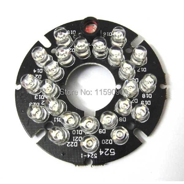 10 X New 24 LEDs 90 Degrees 5mm Infrared Bulbs 850nm IR Board Illuminator For CCTV Camera(China (Mainland))