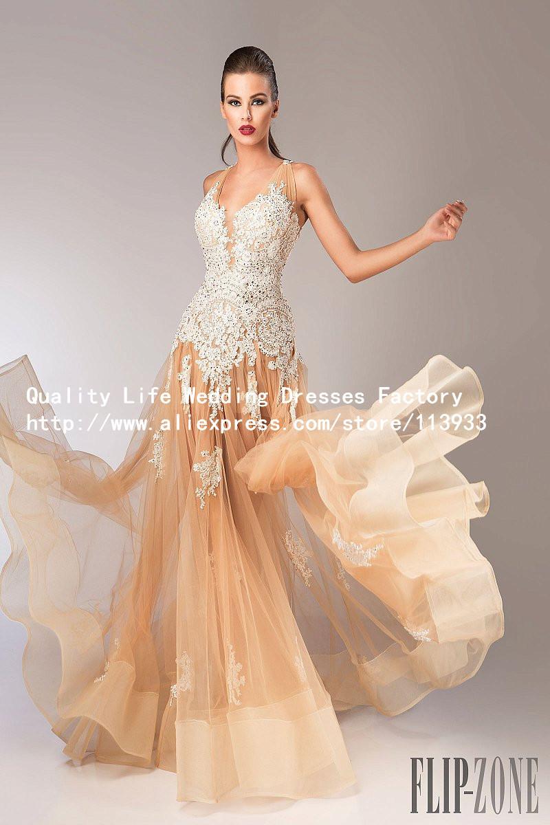 2016 arabic champagne long lace crystals beaded vestidos. Black Bedroom Furniture Sets. Home Design Ideas