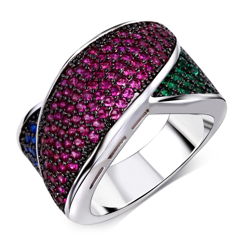 Hot Fashion Multi Women CZ Rings Wave Face Pave Setting 144 PCS Siam + Montana+ Emerald AAA Cubic Zircon Platinum and Gun Plated(China (Mainland))