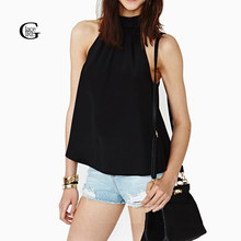 Buy Lace Girl 2017 New Women Summer Blouse Chiffon Vest Shirt Shoulder Sleeveless Backless Blouse Tank Top Lady Candy Color Vest for $2.84 in AliExpress store