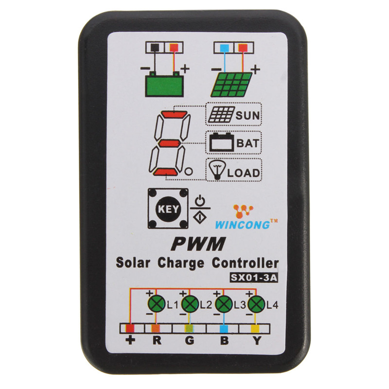 3A 6V 12V PWM Solar Panel Light Controller Battery Charge Regulator for Solar Panel System Intelligent Solar Charger Controller(China (Mainland))