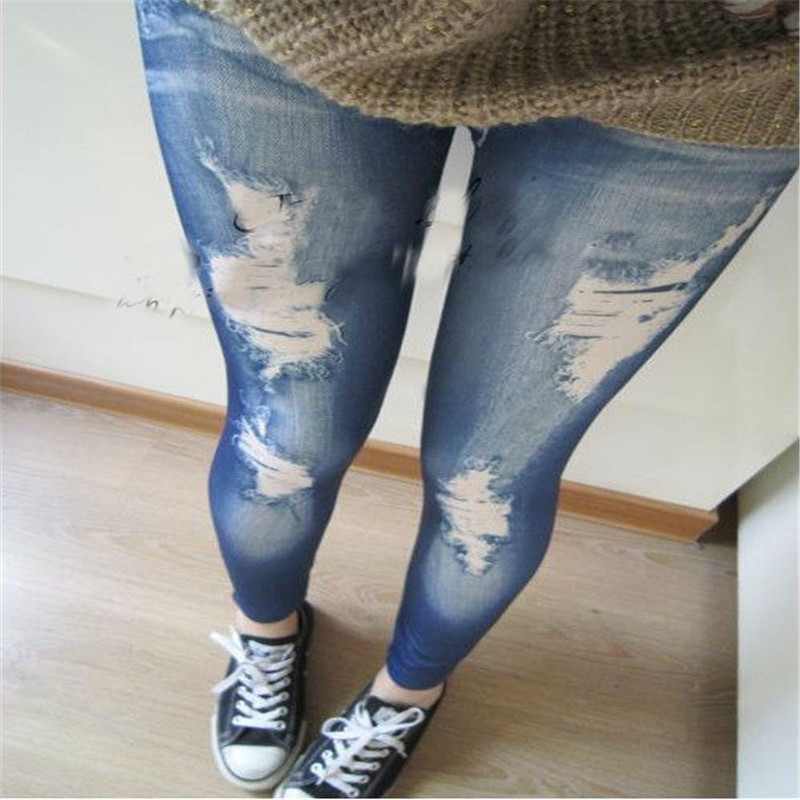 2 Colors Women Fashion Fake Hole Imitation Stretch Cotton Mid Jeans Polyester Spandex Leggings Pants Free Shipping(China (Mainland))