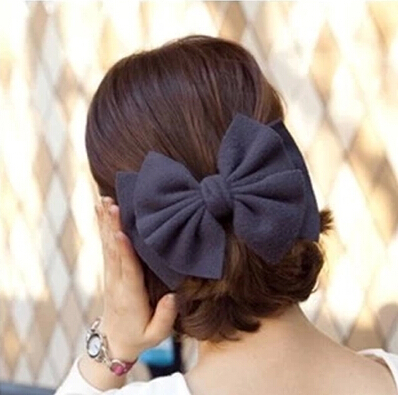 358 Korean hair accessories Korean version of the fall and winter woolen oversized bow headband headdress top folder hairpin spr(China (Mainland))