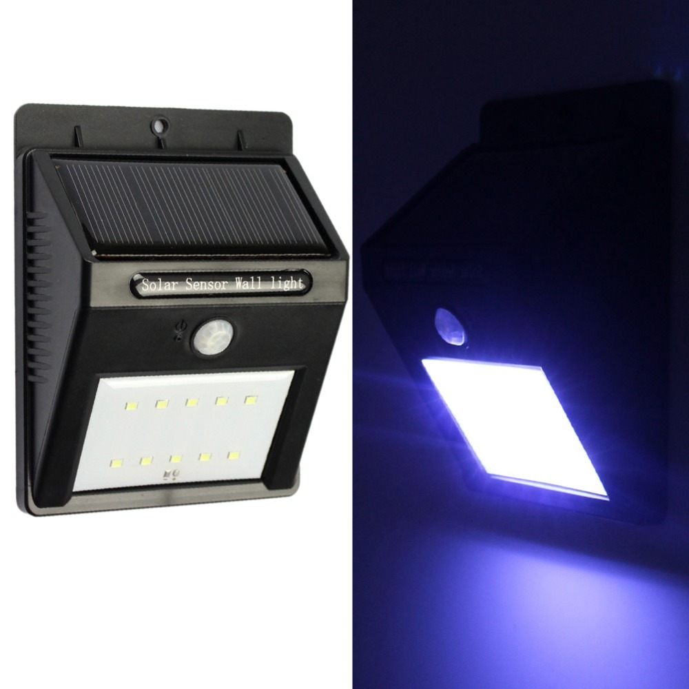GoesWell USA Stock 2015 LED Solar Light Outdoor with Human Body Motion Sensor Waterproof for Garden Wall Lights 1W 10LEDs Lamp(China (Mainland))