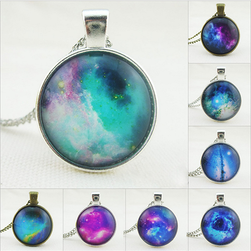 fashion jewelry Glass Art Space Galaxy Pendant Blue Galaxy Space Chain Necklaces & Pendants for women & men Astronomy Jewelry(China (Mainland))