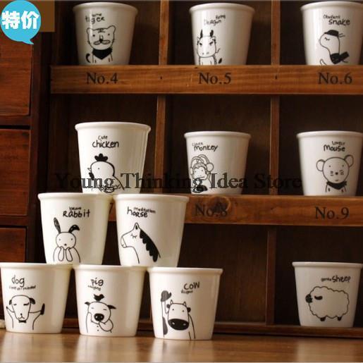 1pcs Special ceramic mug zakka Chinese Zodiac cup of coffee cups cute cartoon animals mug 12 styles,120ml(China (Mainland))