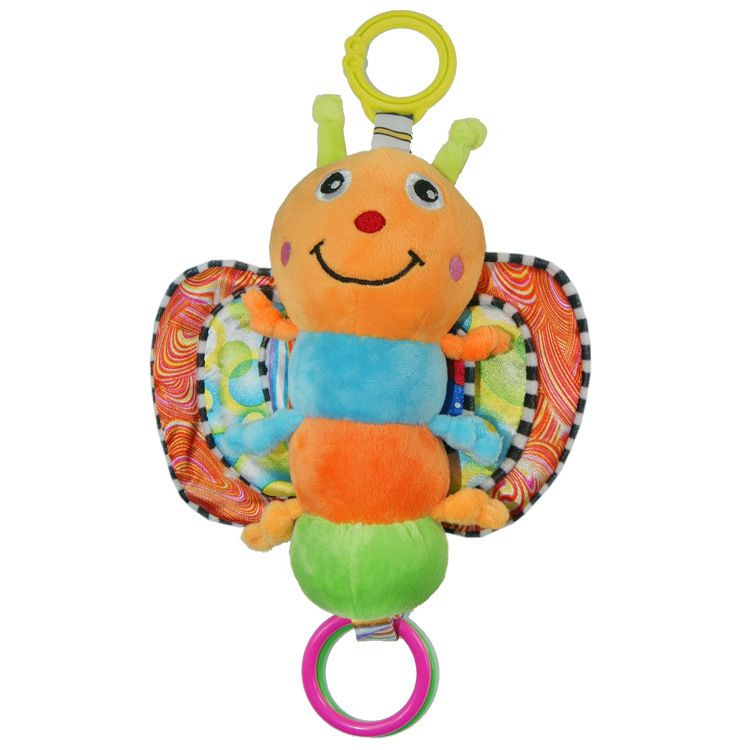 plush butterfly Musical Inchworm Butterfly Plush toy Infant kids Wrist Rattles Fly Honey Bee Toy Baby educational Toys(China (Mainland))