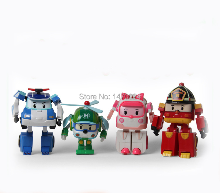 4pcs/Set robot Transform Toy Korea Robot Car Transformation Toys Best christmas Gifs For Kids toys(China (Mainland))