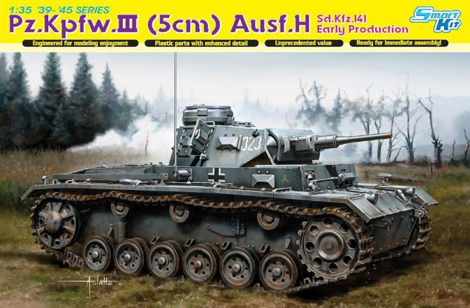 Dragon plastic model 6641 1/35 scale vehicle scale tank WWII military scale model Pz.Kpfw.III (5cm) Ausf.H assembly model kits(China (Mainland))