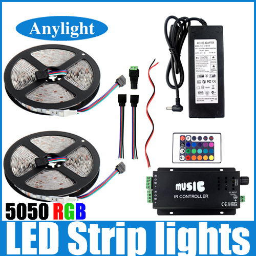 10m Music led strip light 5050 RGB flexible smd strips +Music IR controller+ DC12V 10A power supply +Cable For party/home WLED85(China (Mainland))