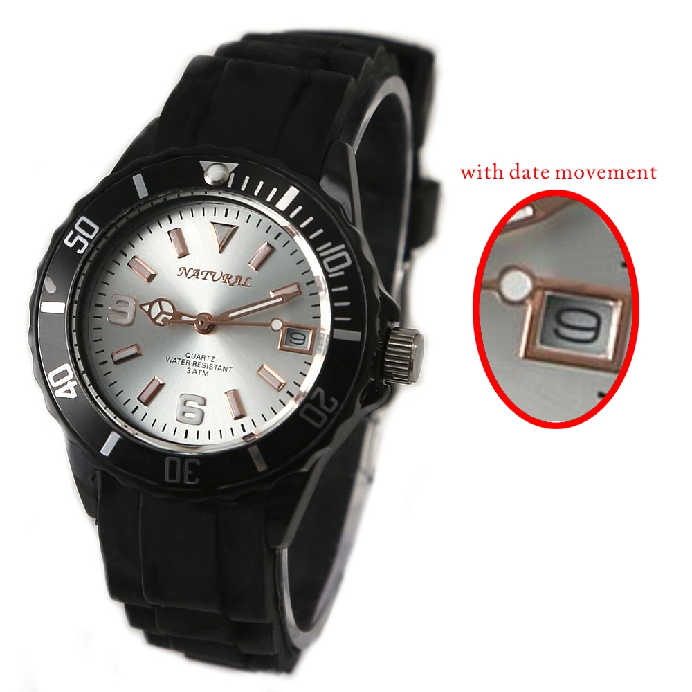 Date Movement Good Taste Sporty NATURAL Brand Watch Black Silicone Band 30M Water Resist Fashion Watch+ Free Tin Box FW893A(China (Mainland))