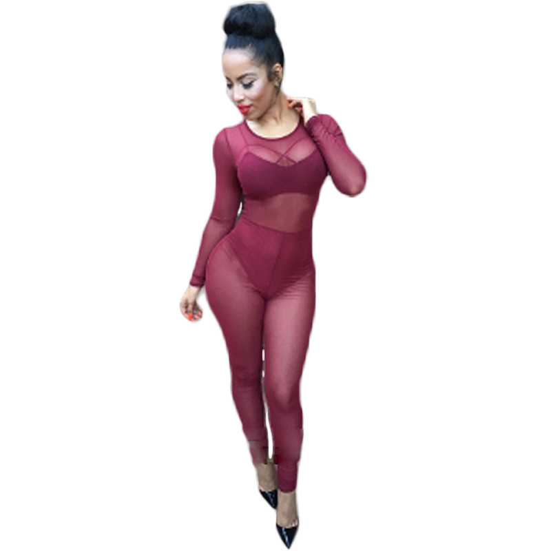 2016 Fashion Summer Women Sexy Transparent Gauze Long Sleeve Tight Jumpsuits Femme Party Club Womens Rompers Jumpsuits Hot Sale(China (Mainland))