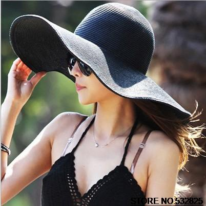 Wholesale and Retail Fashion Women Wide Large Brim Floppy Cap Summer Beach Sun hat Straw Hat Free Shipping(China (Mainland))