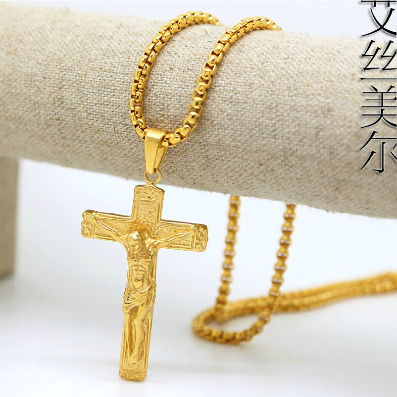 100% 18K Gold Plated Jesus cross pendants High Quality Fashion Hiphop franco long necklaces gold Chain for men bijouterie 2014()
