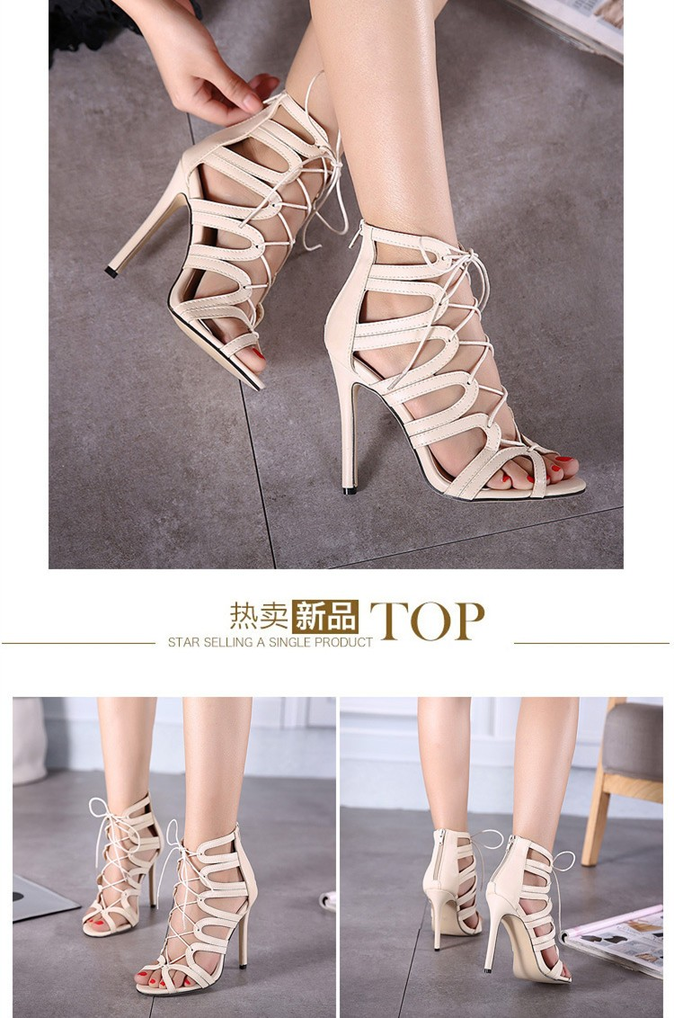 Size 4~9 Sexy High Heels Women Pumps Lace-Up Colorful Model Summer Rome Style Women Shoes zapatos mujer (Check Foot Length)