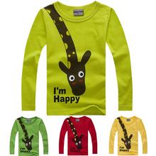 New manches longues Giraffe je suis heureux t - shirt garçons enfants Top manches longues vêtements décontractés bébés garçons vêtements(China (Mainland))