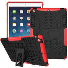 Armor Stand Case for ipad 5 air Grid Matte Heavy duty Defender Armor TPU+PC Case Cover For Apple iPad Air 1 Tablet Case #R(China (Mainland))