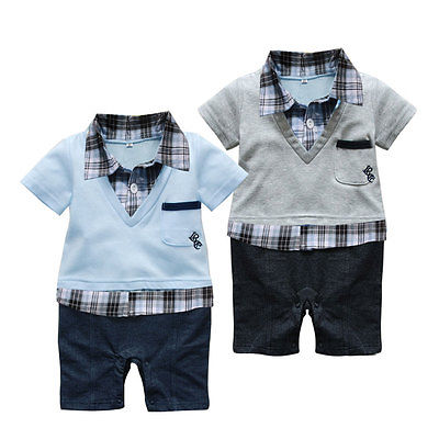 Brand New Boy Baby Formal Suit Romper Pants 0-18M One-piece Jumpsuit Clothes<br><br>Aliexpress