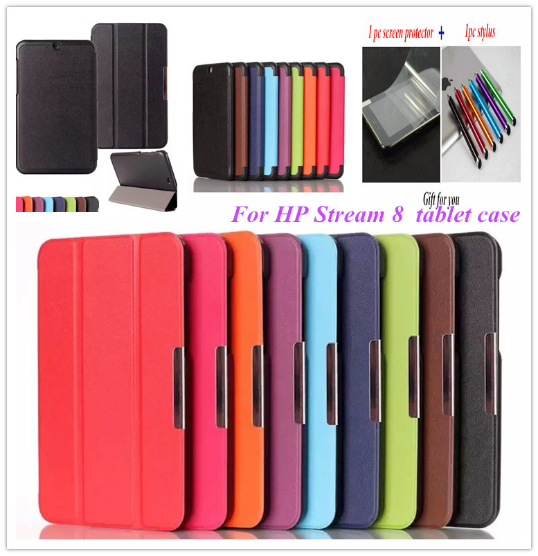 stream 8 case New Luxury ultra thin smart leather case For HP Stream 8 tablet case +screen protector(China (Mainland))