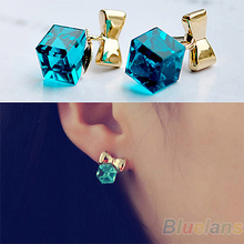 Shimmer Chic vintage Gold Bowknot Cube Crystal Earring Gold Tone GP Hook Dangle Earrings for Women 03D5(China (Mainland))