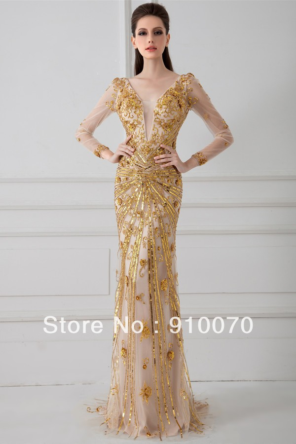 Gold Long Dresses With Sleeves - Gowns and Dress Ideas