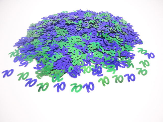 Over the hill men aged 70th BIRTHDAY PARTY table decoration sparkle glitz 1000 pcs 70 blue green Metallic CONFETTI supplies(China (Mainland))