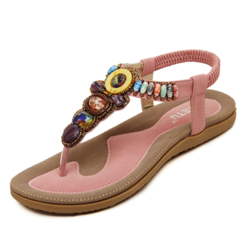 Bohemian Style Beading Clip Toe Large Size 40 41 Sandals Women Discount All-match Flats  -  Fashion Supermarket for U store